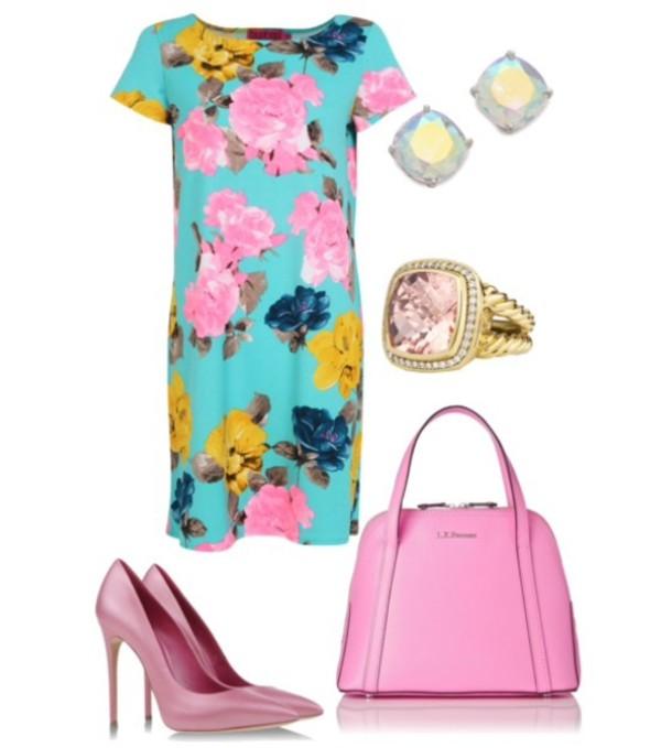 floral dress pink pumps handbag jewels earrings ring bag shoes