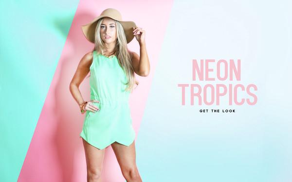 jumpsuit romper neon neontropics mintplaysuit fashion