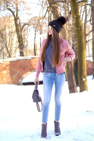 only my fashion style blogger hat sweater jacket shoes bag jewels winter outfits beanie bomber jacket pink jacket ankle boots grey sweater