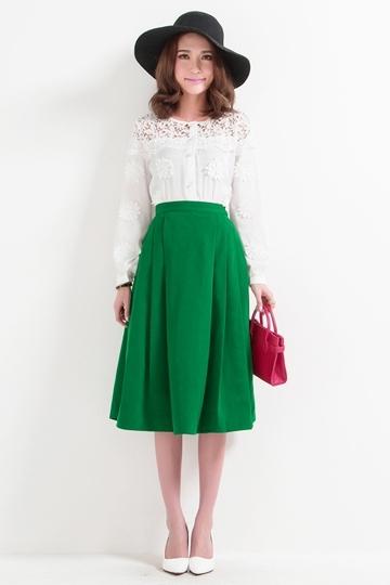 Vintage Elegant Pleated Full Skirt [FMCC0158] - PersunMall.com