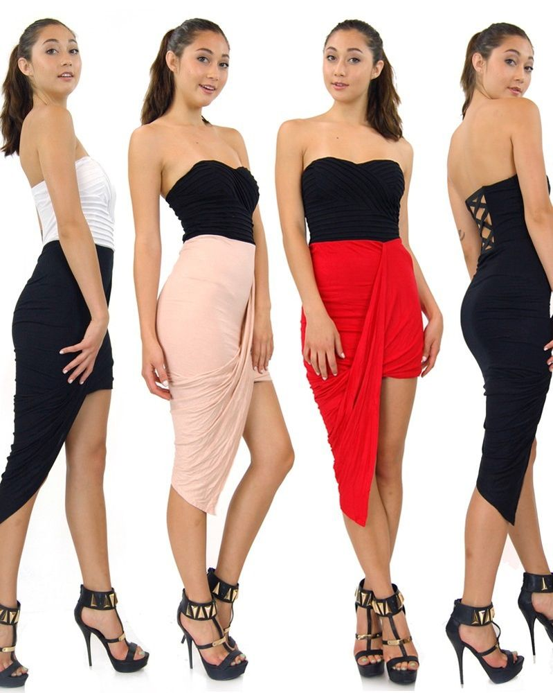 Candy Color Tube Criss Cross Back Asymmetrical Hem 11028 Draped Skirt Dress   eBay