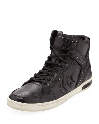 Converse by John Varvatos Weapon Ball & Chain High-Top Sneaker, Black  - Neiman Marcus