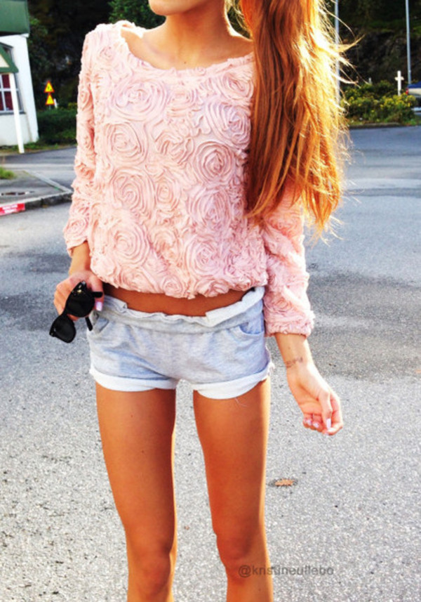 shirt pink rose shorts kristine ullebø kristine ullebo 3d flower 3d roses 3d sweater baby pink sweater floral sweater