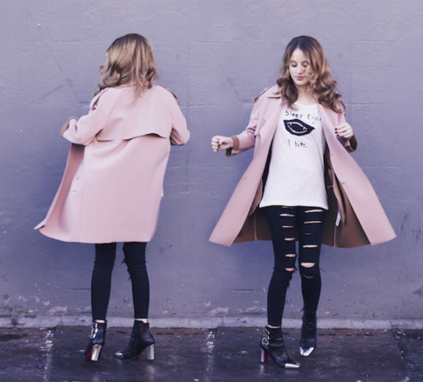 at fashion forte blogger white t-shirt pink coat ripped jeans ankle boots coat jeans t-shirt jewels shoes