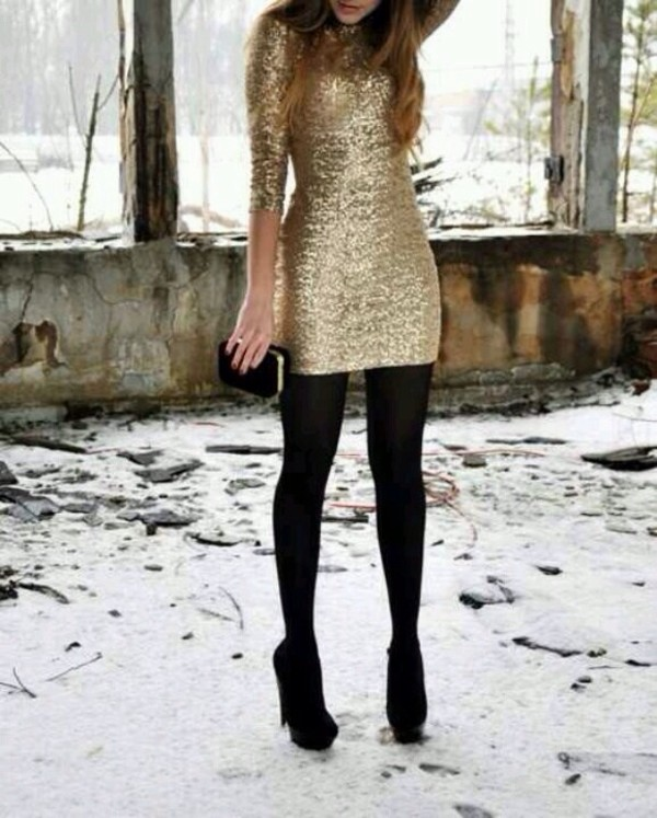 dress sequin dress gold dress winter outfits long sleeve dress