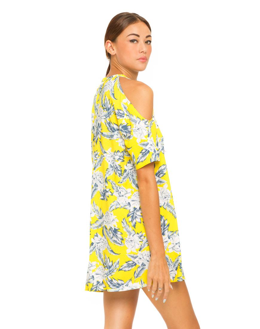 Buy Motel Savannah Cold Shoulder Dress in Dahlia Citrus at Motel Rocks