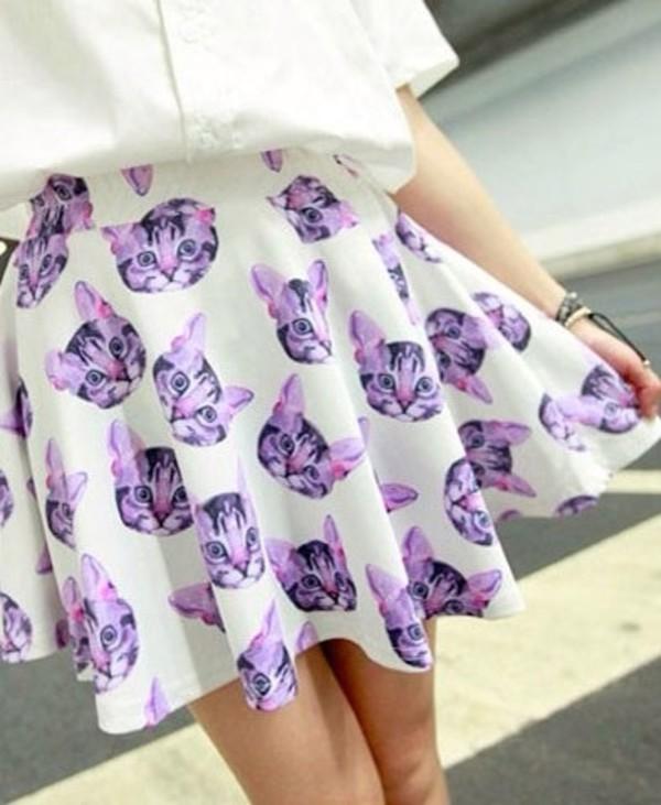 skirt cats cats print white purple kawaii pastel goth cute