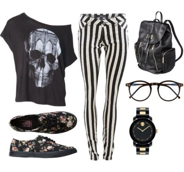 shirt black skull tumblr skull t-shirt striped pants shoes glasses watch floral pants