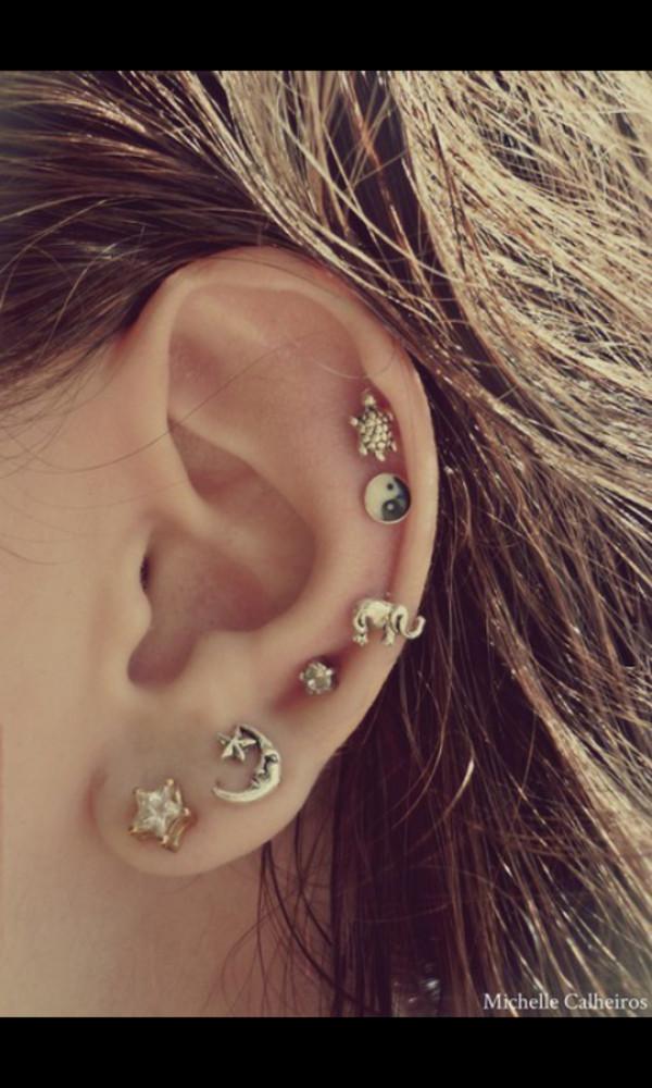 jewels earrings elephant yin yang peace sign turtle moon and sun