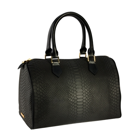 Black Barrel Bag   Embossed Python Leather   GiGi New York