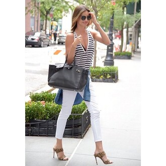 leopard print heels where to get this shirt and sunglasses white pants see through stripes chic fashion chic muse outfit bag purse jeans summer outfits style model chain high heels shoes pants shirt