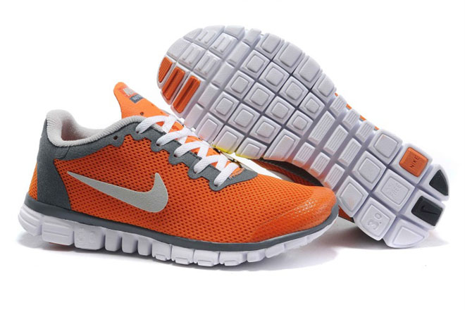 Nike Free 3.0 V2 Orange Grey White-Womens