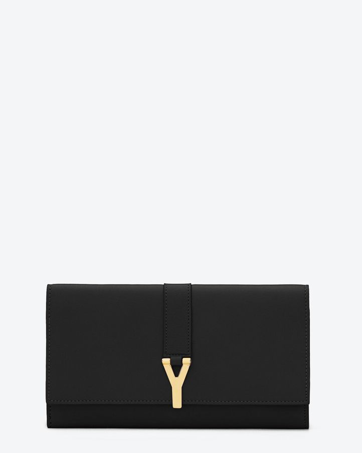 Saint Laurent Classic Large Y Flap Wallet In Black Leather | ysl.com