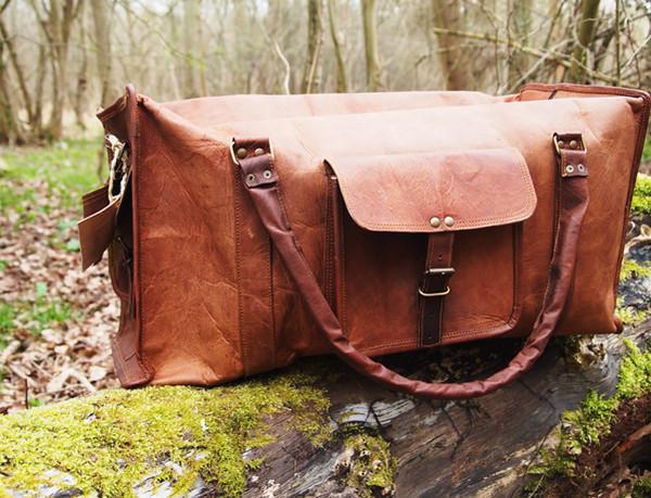 bag travel bag leather leather bag brown leather bag tanned leather buckles travel bag travel case