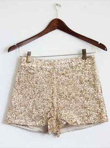 Women's Medium High Waist Gold Sequin Shorts | eBay