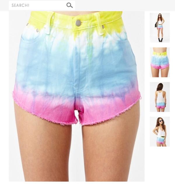 shorts tie dye shorts blue pink tie dye High waisted shorts nastygal yellow