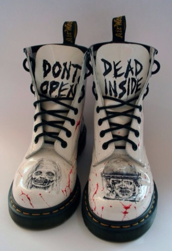 shoes dm white DrMartens DrMartens black and white zombie the walking dead blood goth scary dead DrMartens lace up boots grunge