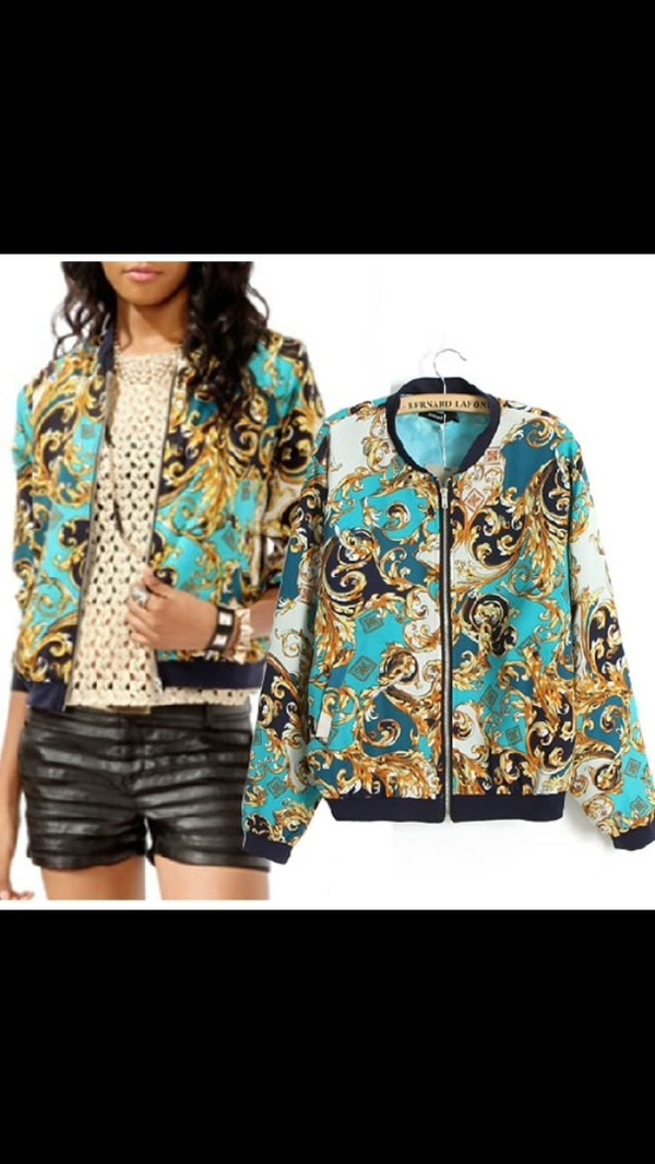 jacket bomber jacket paisley print light blue gold