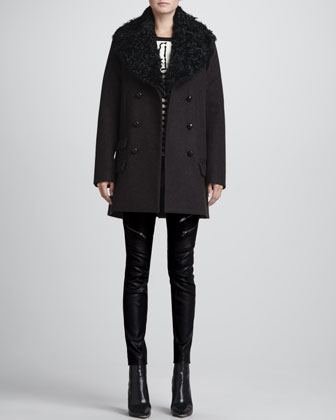 ALC Francois Long Pea Coat, Zebra-Print Knit Sweatshirt & Cannova Leather Motorcycle Pants - Neiman Marcus