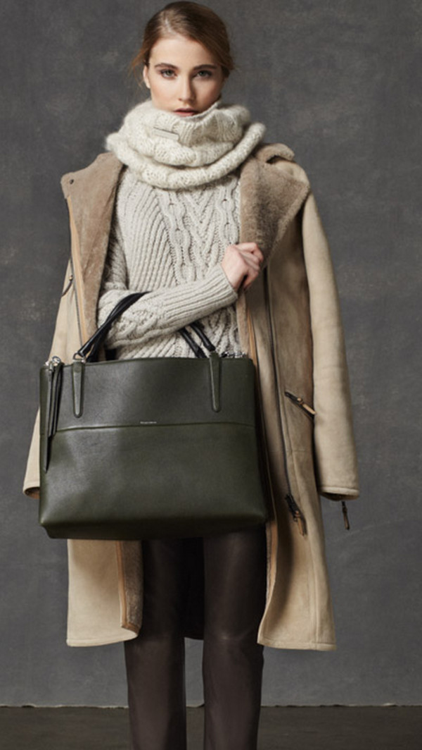 sweater lookbook fashion coach coat scarf pants bag
