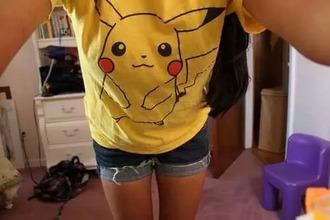 t-shirt pikachu yellow cute emo pokemon