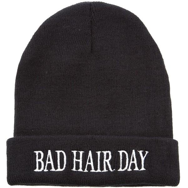 Black Bad Hair Day Beanie - Polyvore
