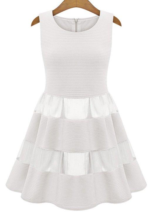 Ivory Sleeveless Contrast Mesh Yoke Ruffle Dress - abaday.com