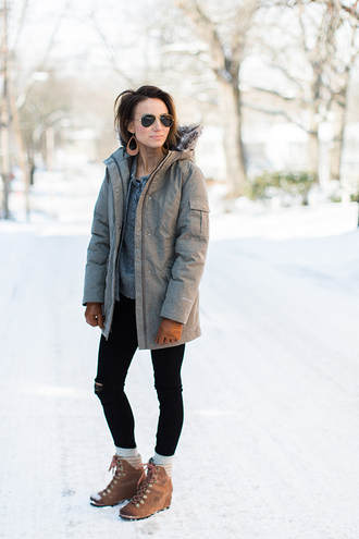 one little momma blogger sweater coat jeans socks shoes jewels sunglasses grey coat winter outfits boots grey sweater