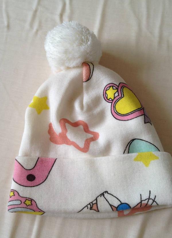 hat hat white pink cartoon beanie beanie cute petite sweet pastel pastel pink girly chibi kawaii lovely stars fluffy soft