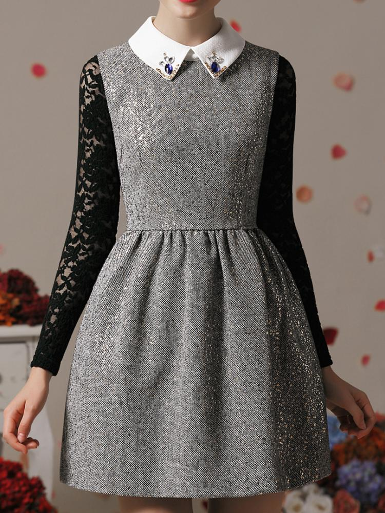Metallic Dot Dress with Bead Shirt Collar | Choies