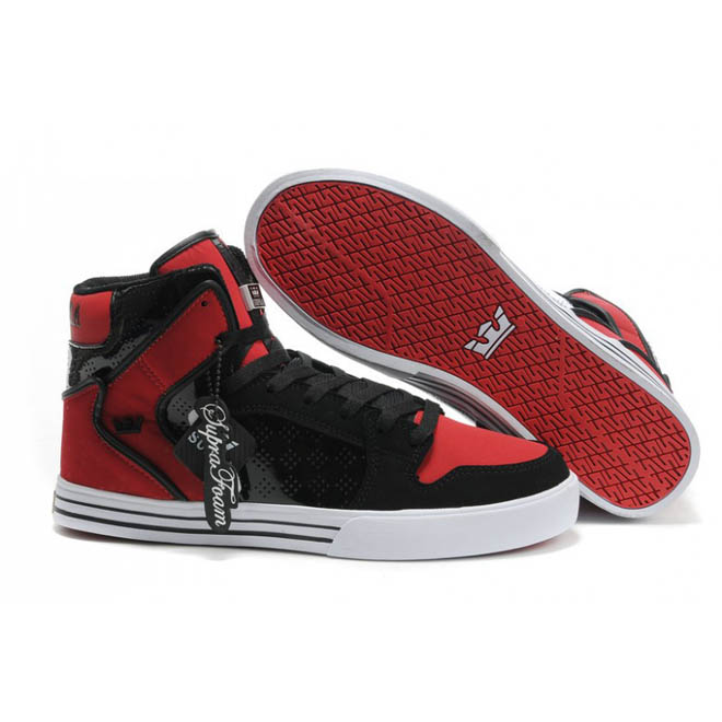 High Top Footwear Supra Shoes Vaider Black and Red White Mens