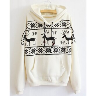 sweater deer white black sweatshirt christmas hoodie jumper long sleeves warm cozy casual cool trendy clothes