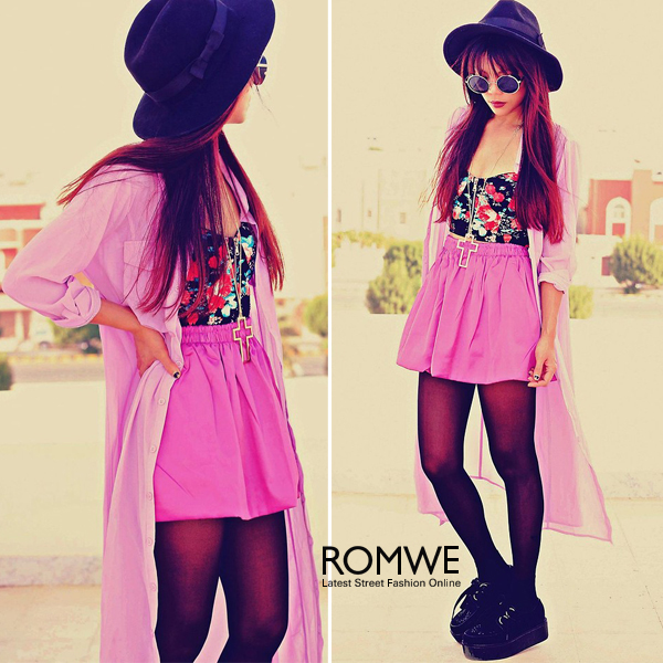 ROMWE | Zippered Black Floral Bandeau, The Latest Street Fashion