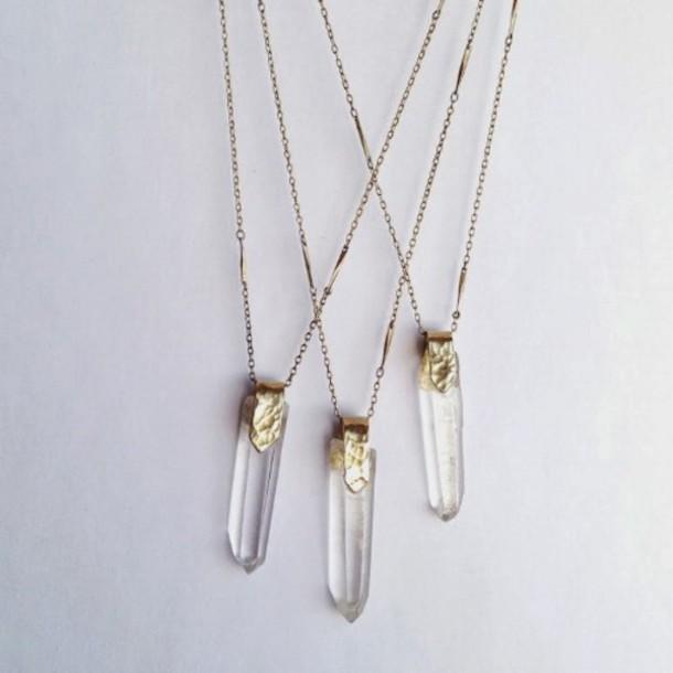 Brand-new jewels, necklace, crystal, tumblr, quartz, crystal quartz, three  JH11