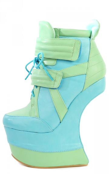 Matilda Mint Green Two Tone Heel Less Wedges and Shop Shoes at MakeMeChic.com