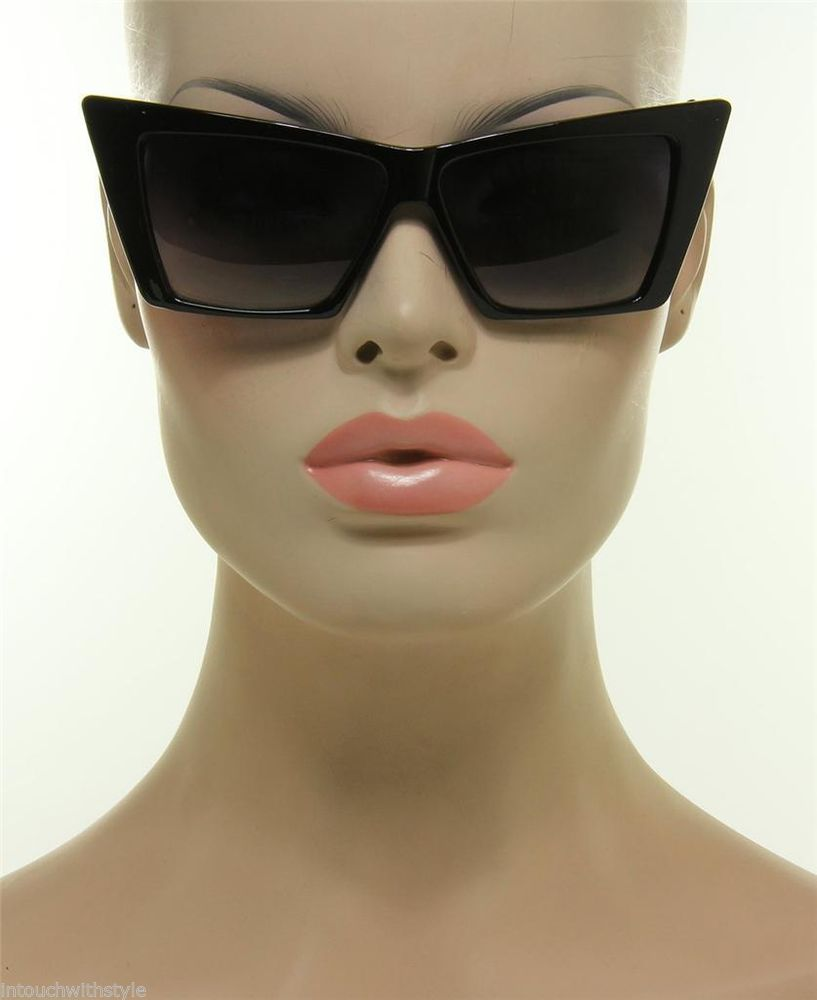 New Women's Vintage Retro Style Cat Eye Cool Black Square Frame Sunglasses Shade   eBay