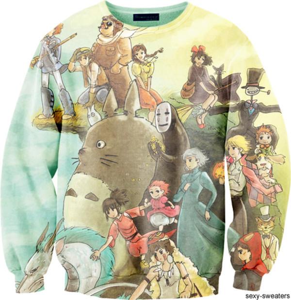 sweater studio ghibli print totoro