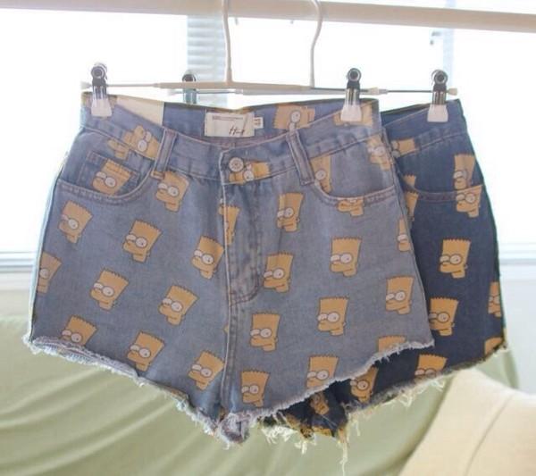 shorts bart simpson cut off shorts denim print