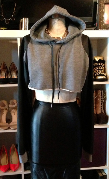 Crop Hoodie w/ Leather Sleeve | Everything Lovely
