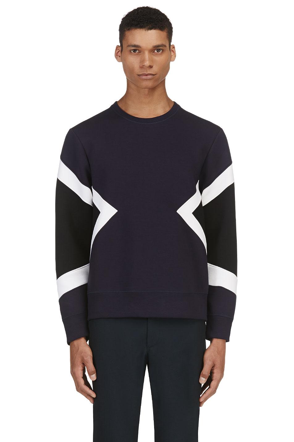 neil barrett navy geometric neoprene sweater