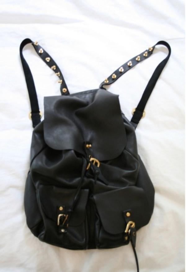 bag leather backpack studded black gold leather backpack grunge wishlist