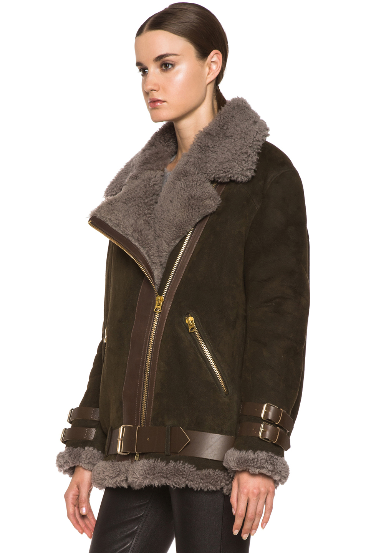 Acne Studios|Velocite Lambskin Jacket in Peat Green