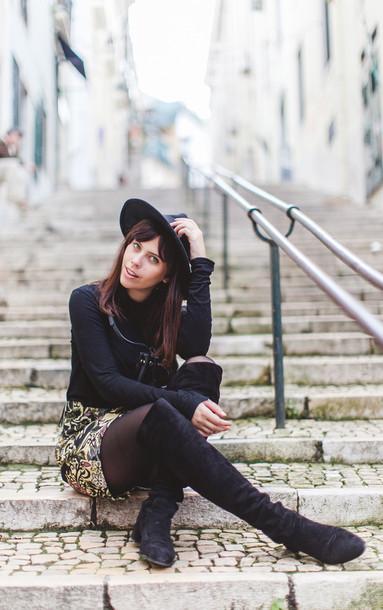 wish wish wish blogger hat top skirt shoes bag