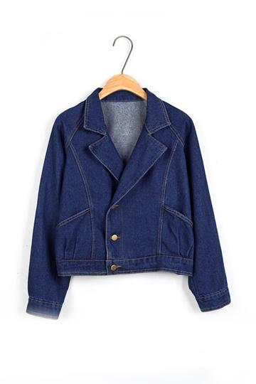Short Pattern Pure Color Denim Coat [FEBK0293]- US$ 28.99 - PersunMall.com