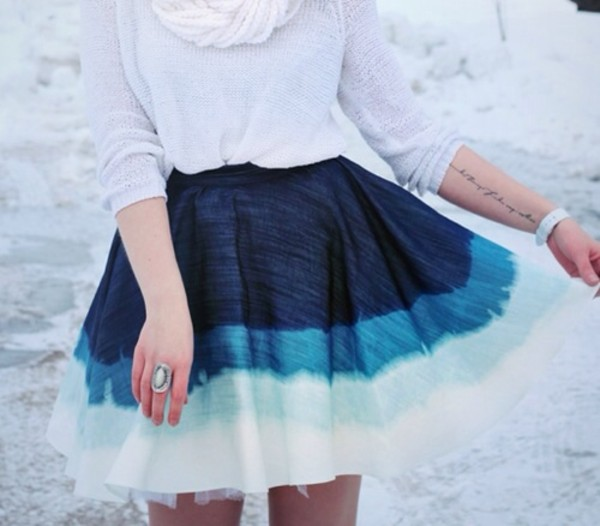 skirt blue skirt light blue white spring skirt