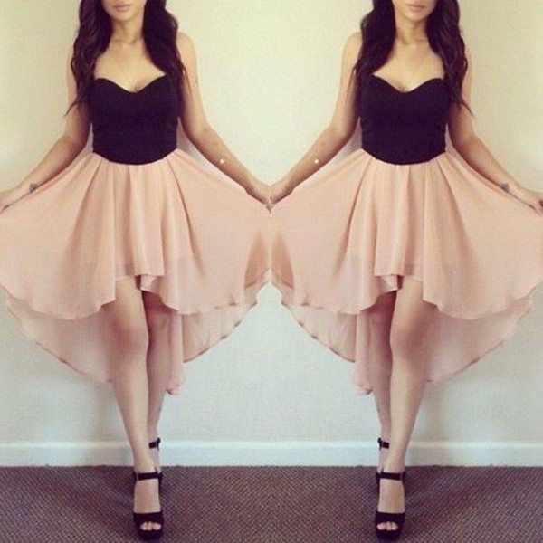 dress peach and black peach dress high heels high-low dresses high low shoes bag skirt black beandeau pink dress pink rose flattering silver shoes high low high low dress summer dress elegance girly crop tops tank top black and pink prom top foreign forever 21