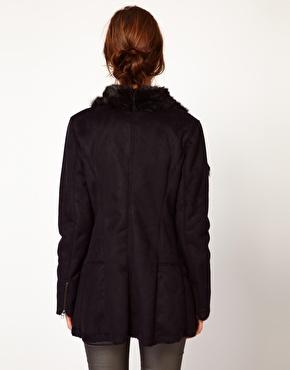 Warehouse | Warehouse Extreme Collar Sheering Coat at ASOS