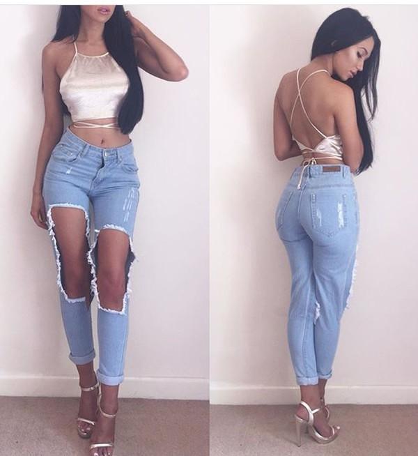 Fashion Women Plus Size Vintage Holes Ripped Jeans Denim Blue