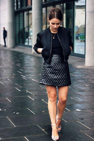 jacket black streetstyle street model 2.55 all black everything classy girl pretty girl bomber jacket zip-up swag dope trill skirt skater skirt high heels
