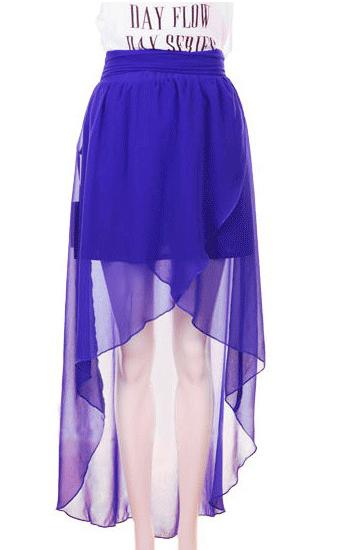 High Waist Chiffon Full-length Skirt Dark Blue - Sheinside.com